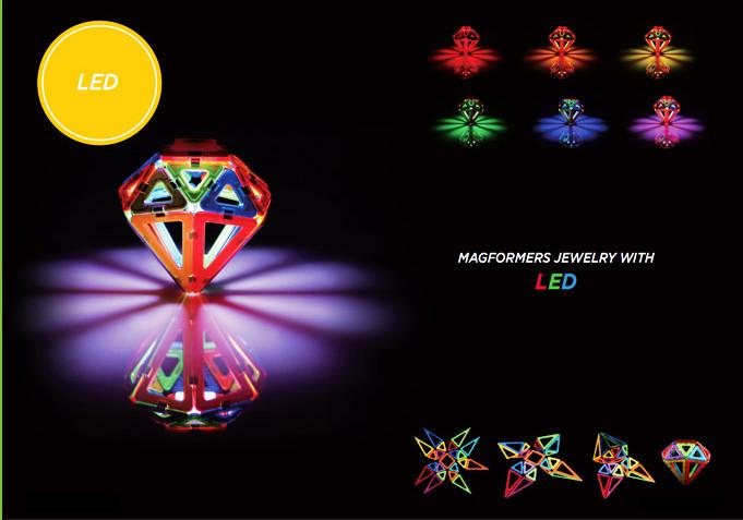Магнитный конструктор Магформерс Светодиод 55 деталей артикул 63092, - фото 12
