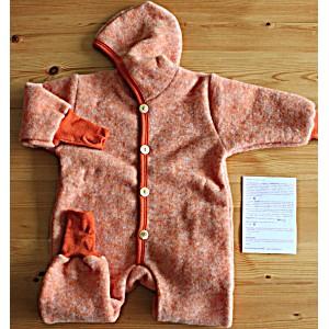 Комбинезон детский из шерстяного флиса с капюшоном на пуговицах COSILANA (Козилана) 100% шерсть цвет Оранжевый Меланж