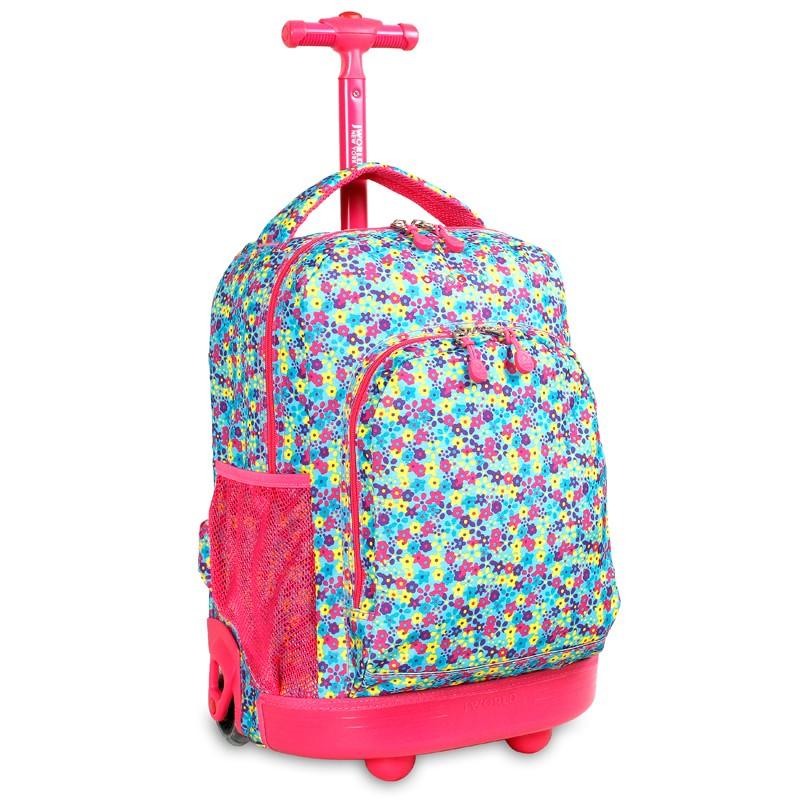 Школьный рюкзак на колесах JWORLD SUNNY Цветочки , - фото 1