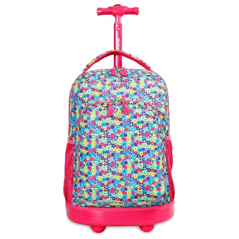 Школьный рюкзак на колесах JWORLD SUNNY Цветочки , - фото 2
