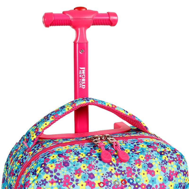 Школьный рюкзак на колесах JWORLD SUNNY Цветочки , - фото 6