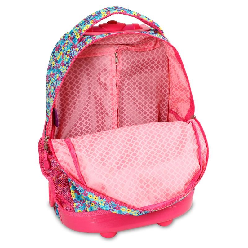 Школьный рюкзак на колесах JWORLD SUNNY Цветочки , - фото 4