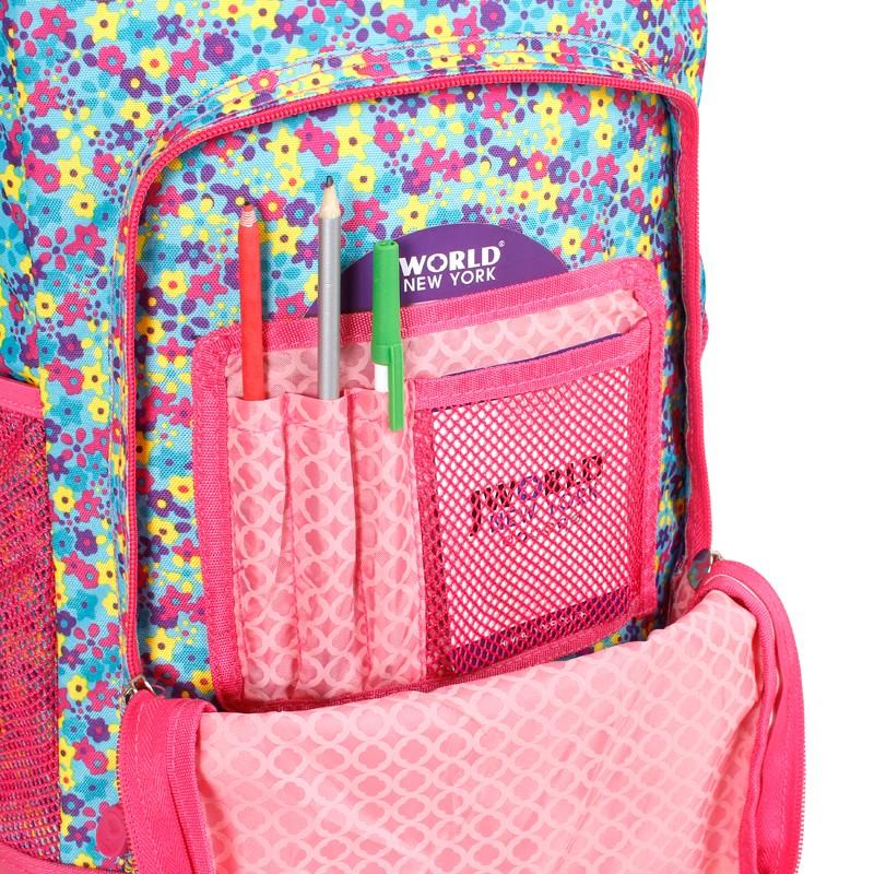 Школьный рюкзак на колесах JWORLD SUNNY Цветочки , - фото 5