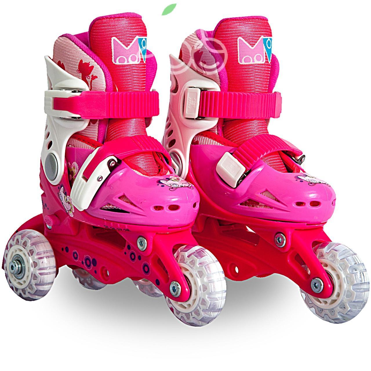 Роликовые коньки детские 28 размер, для обучения (трансформеры, раздвижной ботинок) MagicWheels розовые, - фото 1