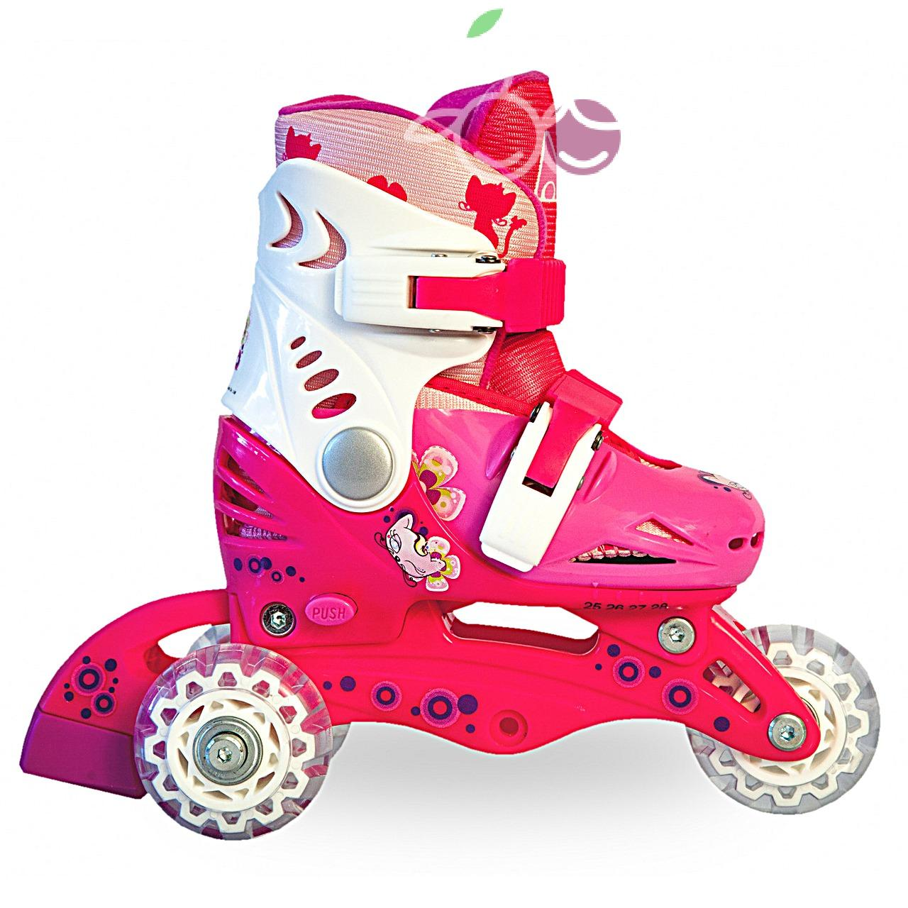 Роликовые коньки детские 28 размер, для обучения (трансформеры, раздвижной ботинок) MagicWheels розовые, - фото 2