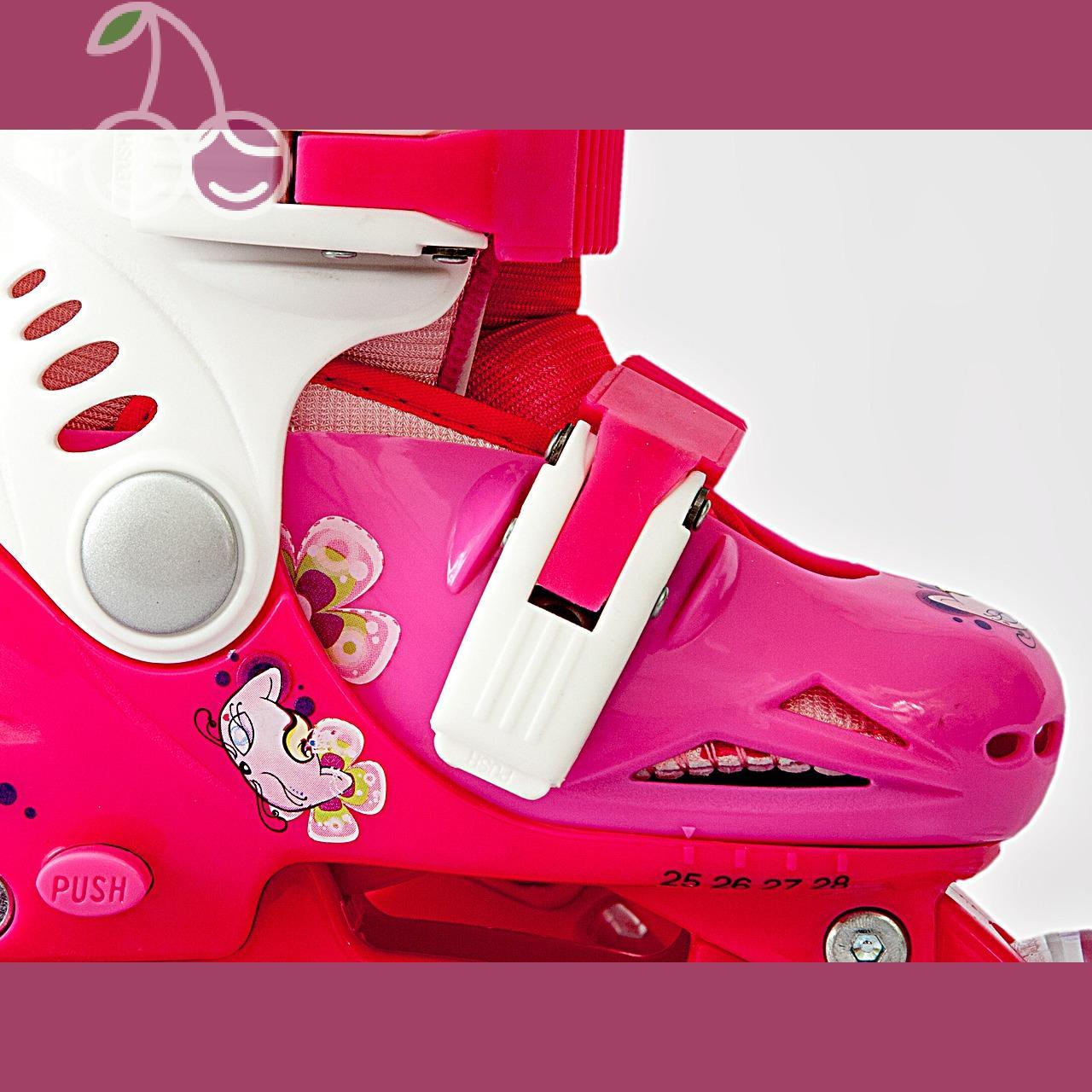 Роликовые коньки детские 28 размер, для обучения (трансформеры, раздвижной ботинок) MagicWheels розовые, - фото 3