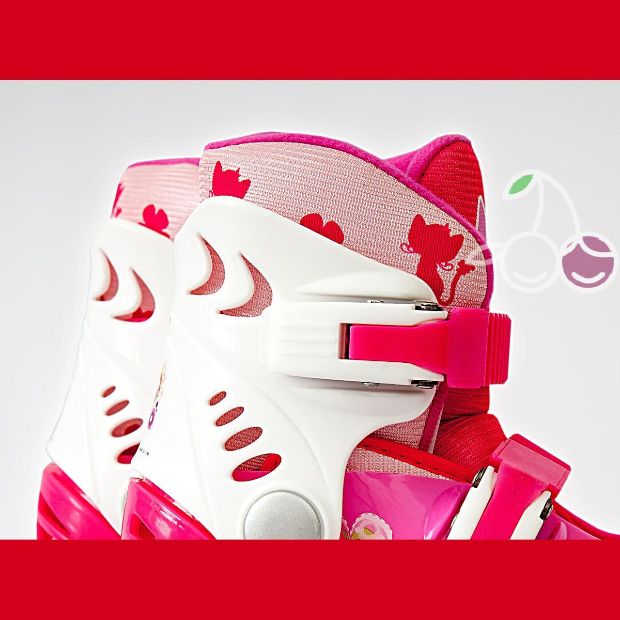 Роликовые коньки детские 28 размер, для обучения (трансформеры, раздвижной ботинок) MagicWheels розовые, - фото 5