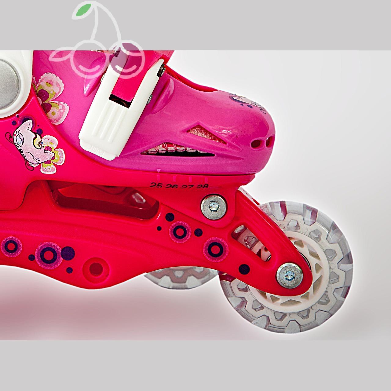 Роликовые коньки детские 28 размер, для обучения (трансформеры, раздвижной ботинок) MagicWheels розовые, - фото 6